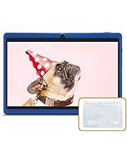 JINYJIA 7 inch tablet, Google Android 4.4 tablet met doorzichtige siliconen behuizing, Quad Core 8 GB ROM, twee camera's, Bluetooth, WiFi, blauw