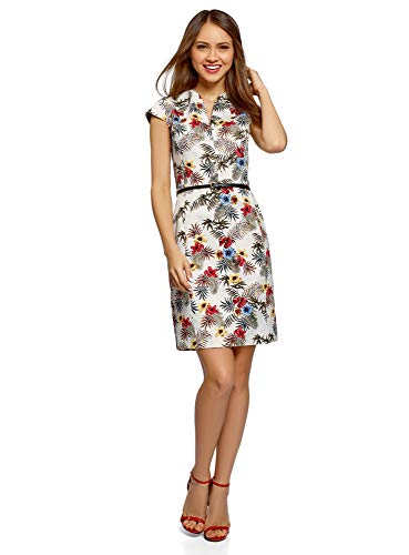 - oodji Collection Women's Belted Pencil Dress, Multicoloured, 2