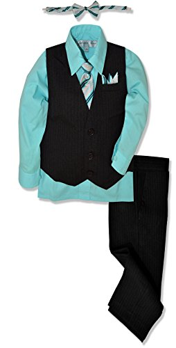 Johnnie Lene JL40 Pinstripe Boys Formal Dresswear Vest Set (12, Black/Hawaiian)