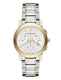 Burberry The City SWISS LUXURY Women 38mm Round Silver & Gold Chronograph Watch Gold/Stainless Steel Band Check-Stamped Sunray Date Dial BU9751
