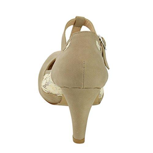 Beston De31 Womens Floreale Pizzo T-strap Mary Janes Pompe Del Vestito Una Dimensione Piccolo Nudo