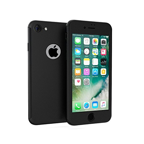 Cover iPhone 6/6s 360 Gradi + Pellicola Vetro Temperato, [ 360 ° ] [ Nero ] Custodia iPhone 6/6s 360 Gradi + Pellicola Protettiva in Vetro Temperato per iPhone 6/6s