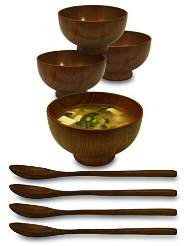 Japanese Dining Set - 4 Sets (8 Piece) Wooden Japanese Individual Serving Bowls with Spoon Set for Miso Soup, Salads, Fruit, Snacks, Ice Cream, and many more