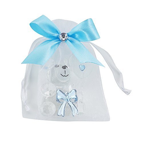 Bear Crystal Baby (Crystal Teddy Bear Figurines with Decorated Pouches 12 PCS/pack- Baby Boy Shower Favor/ Birthday Gift)