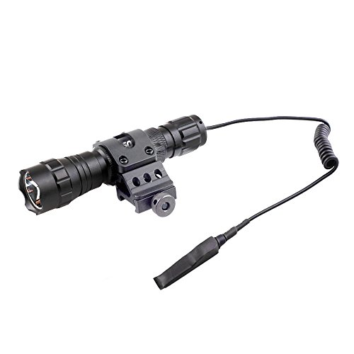 "CISNO New 1000LM LED Tactical Flashlight Torch Pressure Switch W/1"" Offset Mount For Hunting Hiking, Flat Black"