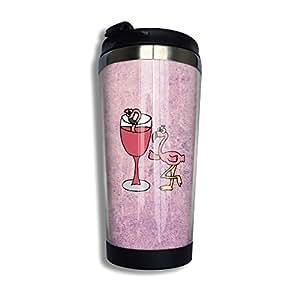 Artsy Funny Pink Flamingo Bird Drinking Wine Cfeego Tumbler Vacuum Insulated Stainless Steel 14oz(400ml)