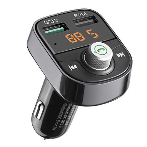 Criacr Bluetooth FM Transmitter, Wireless In-Car FM Radio Adapter Car Kit, Universal Car Charger with Dual USB Charging Port, Quick Charge 3.0, Hands-free Call for iPhone, Samsung, etc