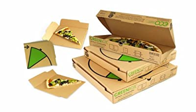 "GreenBox Pizza Box, 14-3/8"" Length x 14-3/8"" Width x 2-3/16"" Height, Kraft (Pack of 50)"