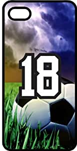 Soccer Sports Fan Player Number 18 Black Rubber Decorative iPhone 4s Case