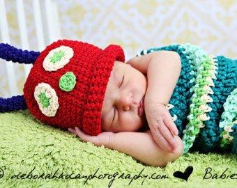 Matissa, Baby Photography Prop (Caterpillar) Newborn Baby Girl Boy Crochet Knit Costume Photo Photography Prop Hats (Caterpillar Costumes)