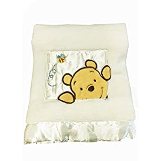 "Danica Soft Coral Fleece Baby Blanket, Cute Animal Pattern, 40"" X 30"" Cozy, Comfortable & Warm (Ivory Winnie The Pooh B)"