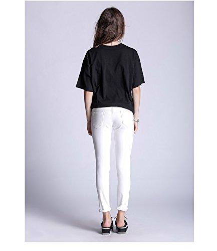 Jeans Oudan Jeans Trous Jeans Zip Blanc Jeans Dchirs des Skinny Jeans d't Jeans Pantalon avec Jeans xSpUSf