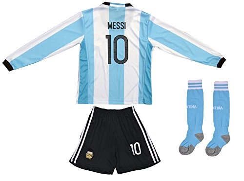 2015/2016 Argentina Kids #10 MESSI Soccer Jersey & Shorts Youth Sizes (Long, M ( Ages 6-7))