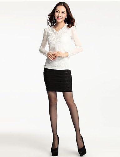 Mujer Camisa Blusa elegante mujer Blusa – Camiseta de mujer – Camiseta de mujer – Punta/rejilla algodón/poliéster manga larga cuello en V, color rosa - rosa, tamaño 3XL: Amazon.es: Deportes y aire