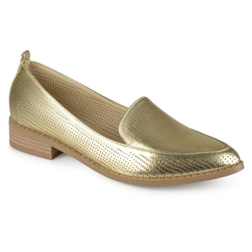Journee Collection Womens Laser Cut Stacked Heel Pointed Toe Loafers Gold rn06Cieua