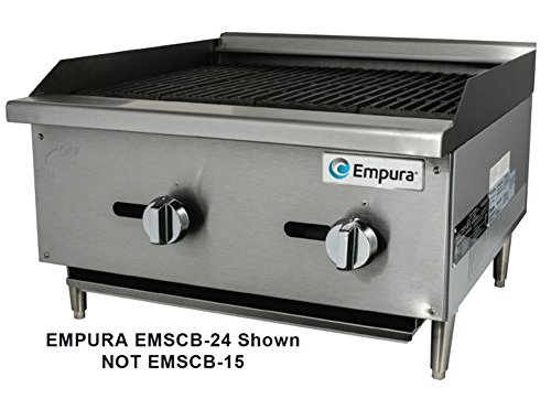 Empura EMSCB-15 Medium Duty Stainless Steel 16'' Countertop Charbroiler Gas with 1 Manual Controls Burner, 28,000 BTU by Empura
