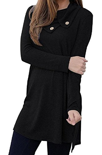 Down Pure Women Black Button Hipster Color Irregular Folding Dress Mid Coolred 4aIHF6