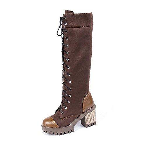 AllhqFashion Damen Weiches Material Rund Zehe Rein Hoher Absatz Stiefel, Braun, 33