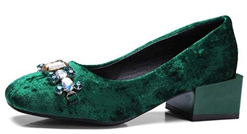 Idifu Womens Strass Eleganti Tacchi Alti In Chunky Slip On Faux Suede Pumps Green