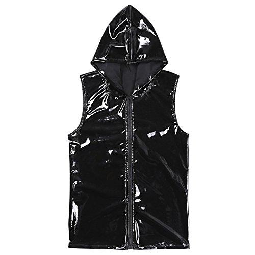 Freebily Men PVC Leather Tank Tops Hoodie Dance Clubwear Zipper Hip Hop T Shirt Black Medium by Freebily