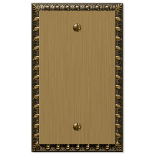 Amerelle Egg & Dart Single Blank Cast Metal Wallplate in Brushed Brass