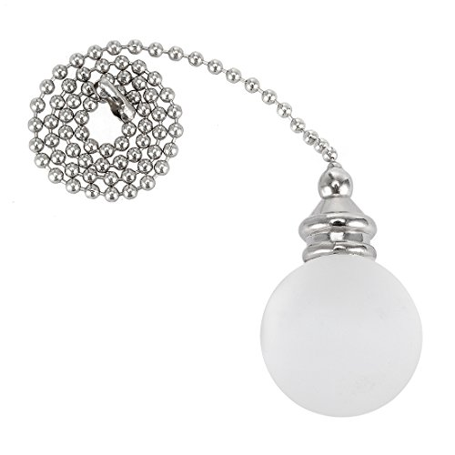 uxcell 12 inch Sliver Tone Pull Chain White Alabaster Ball Pendant Ceiling Fan Decorative