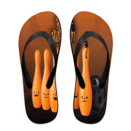 Flip Flops Happy Halloween Cat Bowling Women's Beach Slippers Thong Sandals For -