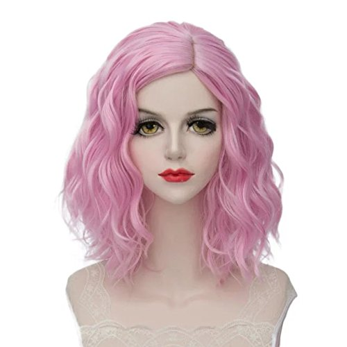 Lolita Multicolor 35cm Short Wavy Halloween Cosplay Wigs+Cap (Light Pink)