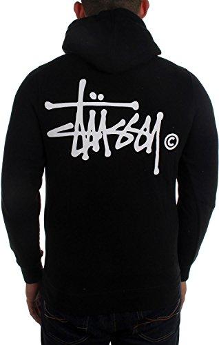 Stussy Mens Basic Logo Hoody Zip Sweatshirt Large Black