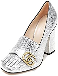 Gucci Women's Metallic Textured Real Leather Pumps