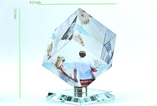 Customized 3D Photo Crystal Rotating Glass Cube Engraved Personalized - 3-d Crystal Cubes