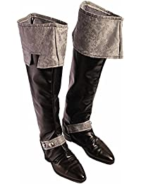 Adult Black Medieval King Boot Tops Cover Costume Accessory