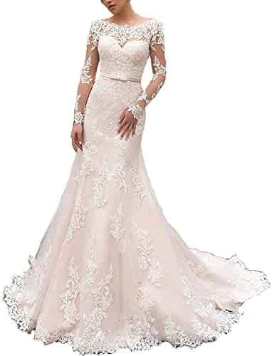 2f52332ba0ad HeleneBridal Women's 2019 Off-The-Shoulder Lace Appliques Ball Gown  Casamento Long Wedding Dresses