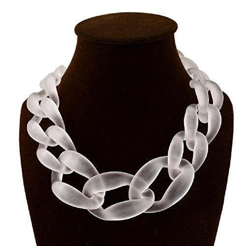 Jewelrydress Women Fashion Acrylic Twist Collar Chunky Choker Statement Chain Necklace White