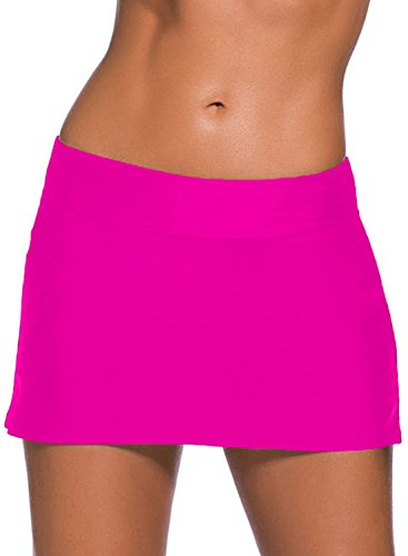EVALESS Womens Swim A-Line Skirt Short Swimsuit-Sun Protective Medium Size Rosy