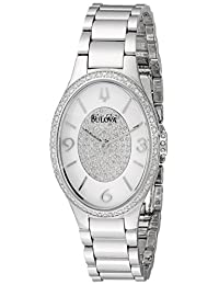 Bulova Women's Diamond Gallery Quartz Watch with White Enamel Dial and Stainless Steel Strap, (96R193)