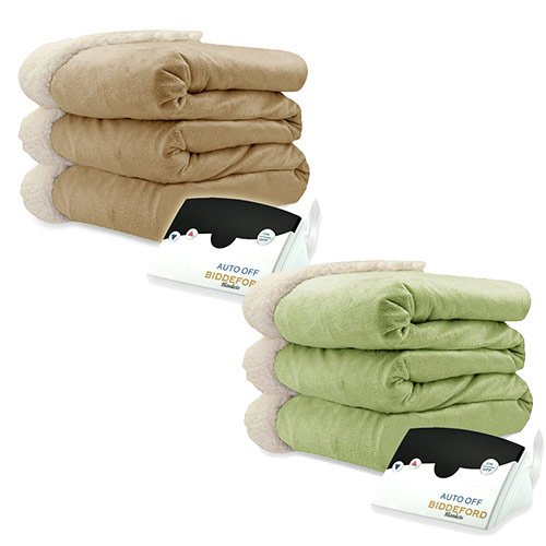 Biddeford Micro Mink and Sherpa Electric Heated Blanket Assorted Sizes Colors