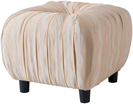 Jennifer Taylor Home Gracie Collection Hand-Tufted Textured Fold Beaded Trim Tassles Ottoman, Beige