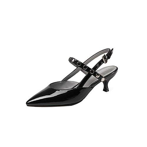 Fine Hasp Pointus Tendon pour Sandales Summer Hauts Black Bœuf Talons Rivets Lady Femmes Fashion de xqEItA