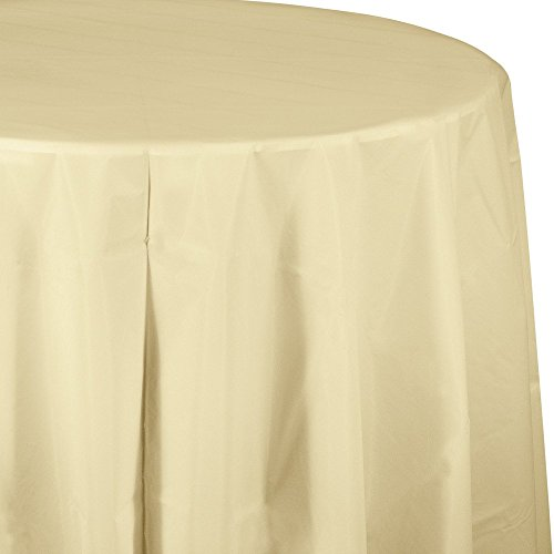 Creative Converting Tissue Poly Table Covers Octy Round Plastic Tablecloth, 3 Ply 82 Inch x 82 Inch for 60 Inch Round Tables - 3 Pack and Quantities (Ivory, 1-3 Pack) (Plastic Cover Ivory Table)