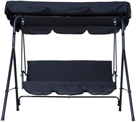 koonlertshop Patio Outdoor Swing Chair Polyester Canopy Garden Hammock Awning Bench Water Resistant Seat Black 505