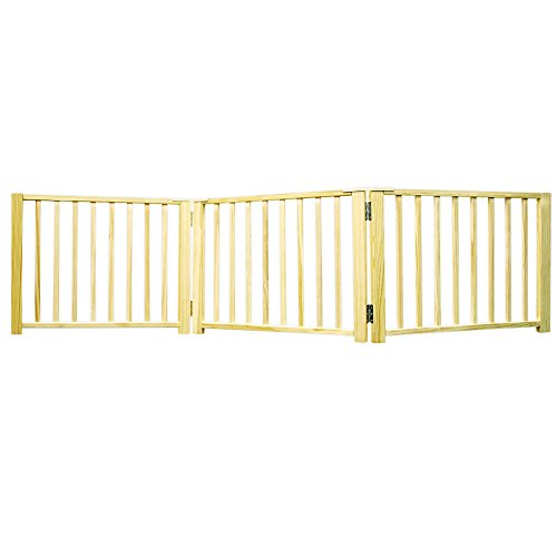 (Four Paws 3 Panel Free Standing Walk Over Wooden Dog Gate, 24