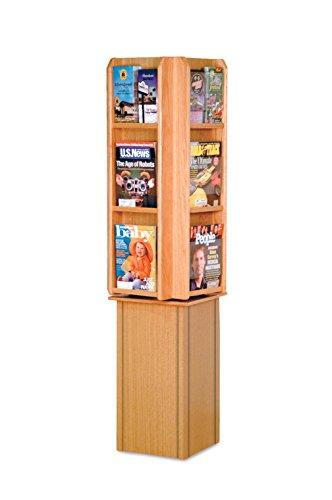 Wooden Mallet LM24-FSLO Divulge Spinning Floor Display with 12 Magazine/24 Brochure Pockets, Light (12 Pocket Floor Display)