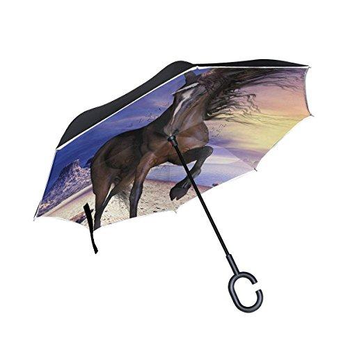 All agree Inverted Reverse Umbrella Unicorn Windproof for Car Rain Outdoor