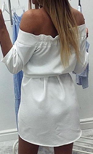 Off Women's Jaycargogo Mini Button Party White Stripe Print Shoulder Dress qFSUHta