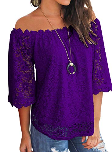 MIHOLL Women's Lace Off Shoulder Tops Casual Loose Blouse Shirts (Purple, Large)