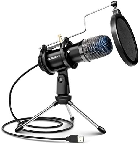 USB Condenser Microphone, ELEGIANT Gaming PC Microphone USB Mic for Computer with Anti Slip Stand Pop Filter Vocal Recording Microphone Plug & Play for Gaming Streaming Podcasting YouTube 1.8m/6ft