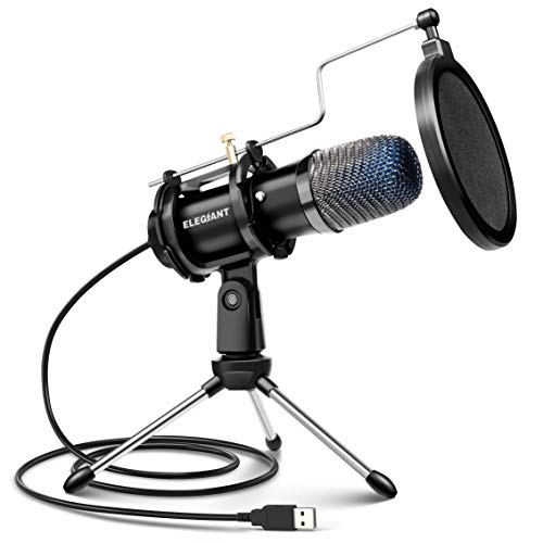 ELEGIANT USB Condenser Microphone, Gaming PC Microphone USB Mic for Computer with Anti Slip Stand Pop Filter Vocal Recording Microphone Plug & Play for Gaming Streaming Podcasting YouTube 1.8m/6ft