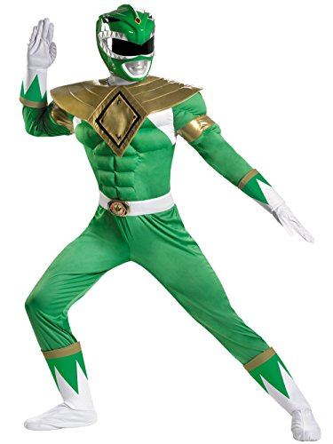 Disguise Sabans Mighty Morphin Power Rangers Green Ranger Classic Muscle Mens Adult Costume, Green/White, (Green Power Ranger Costume Kids)