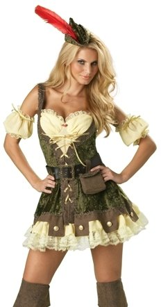 InCharacter Costumes, LLC Women's Racy Robin Hood Costume, Tan/Green, -